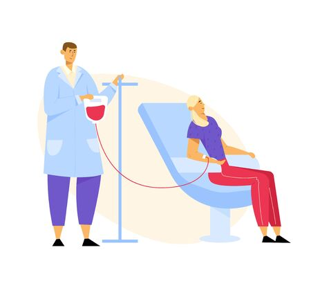 Blood Donation. Female Character Donate Blood for Diseased People, Male Nurse Taking Lifeblood into Plastic Container. Woman Donor Sitting in Medical Chair in Clinic. Cartoon Flat Vector Illustration Иллюстрация