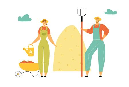 Farmers Characters Man with Pitchfork, Woman with Water Can Stand near Wheelbarrow Full of Ripe Vegetables and Stack of Hay, Gardening, Harvesting, Farming Industry. Cartoon Flat Vector Illustration