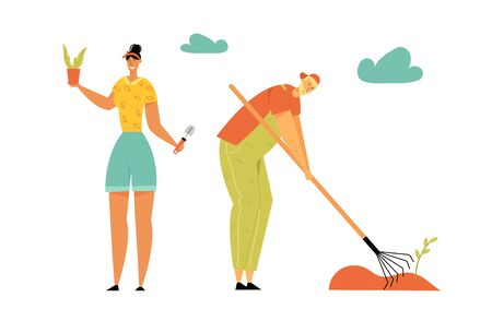 Gardening People. Man and Woman Gardeners Planting and Caring of Plants Weeding Garden Bed. Farmer Growing Vegetables and Herbs on Farm. Ecological Farmer Production. Cartoon Flat Vector Illustration