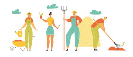 Farmers Characters Men and Women Gardening, Harvesting, Care of Plants, Watering, Collecting Ripe Vegetables and Hay, Farming Industry, Ecological Production, Garden. Cartoon Flat Vector Illustration 일러스트