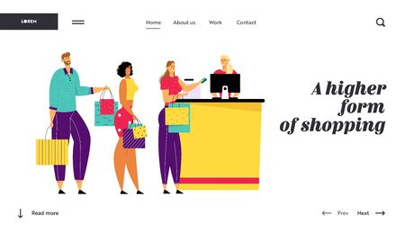 Shopping Queue in Supermarket, Customer Characters with Goods in Bags Stand at Cashier Desk Paying for Purchases, Consumerism Website Landing Page, Web Page. Cartoon Flat Vector Illustration, Banner