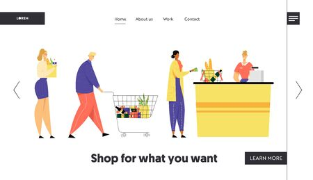 Customers Stand in Line at Grocery or Supermarket Turn with Goods in Shopping Trolley Put Buys on Cashier Desk for Paying, Sale Website Landing Page, Web Page. Cartoon Flat Vector Illustration, Banner