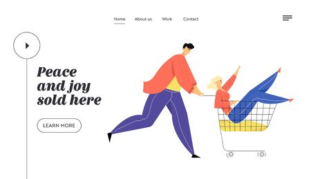 Couple of Teenagers Fool in Supermarket Riding Trolley. Happy Man Pushing Shopping Cart with Girlfriend Sit inside, Teens Fun Website Landing Page, Web Page. Cartoon Flat Vector Illustration, Banner