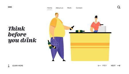 Man Customer with Alcohol Bottles in Shopping Basket Pay for Purchases on Cashier Desk with Shop Assistant Scanning Products. Website Landing Page, Web Page. Cartoon Flat Vector Illustration, Banner