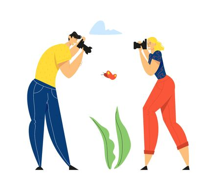 Man and Woman Photographers with Photo Camera Making Picture of Butterfly. Creative Hobby, Traveling, Male, Female Character Having Rest on Nature, Outdoor Activity, Cartoon Flat Vector Illustration  イラスト・ベクター素材