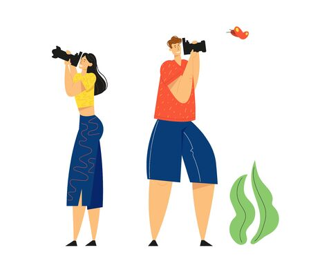 Tourists with Photo Camera Making Picture of Butterfly. Creative Hobby, Traveling, Character Having Rest on Nature, Outdoor Activity, Relaxing in Countryside, Leisure Cartoon Flat Vector Illustration 일러스트