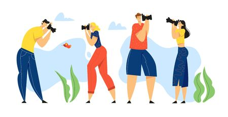 Group of People Relaxing in Countryside with Photo Camera Making Picture of Butterfly. Male, Female Character Having Rest on Nature, Outdoor Activity, Leisure, Hobby. Cartoon Flat Vector Illustration  イラスト・ベクター素材