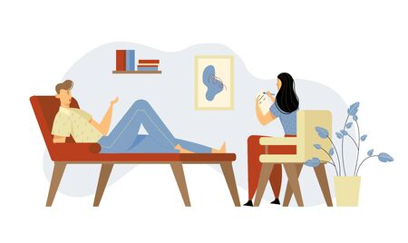Unhappy Man Lying on Couch at Psychologist Appointment for Professional Help. Doctor, Specialist Talking with Patient about Mind Health Problem and Writing in Notebook Cartoon Flat Vector Illustration  イラスト・ベクター素材