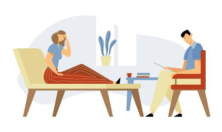 Depressed Woman Client in Clinic Lying on Couch at Psychologist Appointment for Professional Help. Doctor, Specialist Talking with Patient about Mind Health Problem. Cartoon Flat Vector Illustration