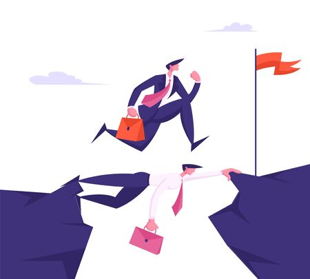 Business Man in Formal Suit with Briefcase Running over Head of Colleague, Businessman New Opportunity, Way, Success and Career Growth, Strongest will Survive Concept. Cartoon Flat Vector Illustration