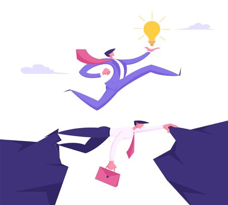 Business Man in Formal Suit with Glowing Light Bulb in Hand Running over Head of Businessman Colleague, Creative Idea, Challenge, New Opportunity, Success Concept Cartoon Flat Vector Illustration