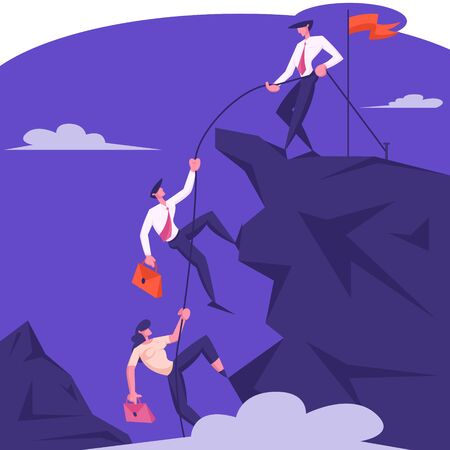 Business Leader Character Help Team Climb to Top of Rock with Hoisted Red Flag, Businessman with Rope Pull Teammates to Mountain Peak, Teamwork and Leadership Concept Cartoon Flat Vector Illustration