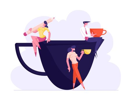 Business Persons, Friends or Colleagues on Coffee Break in Meeting Room. Smiling Relaxing People Sit on Huge Cup Drinking Beverages after Work, Friendly Conversation. Cartoon Flat Vector Illustration Иллюстрация