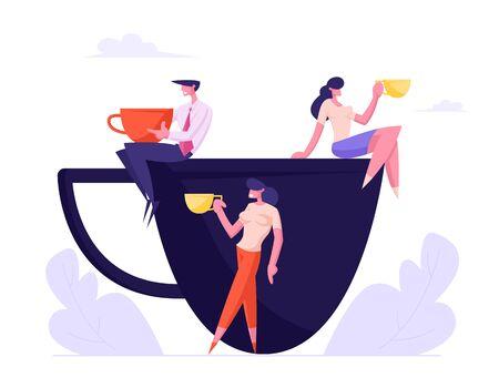 Geschäftsleute, mit Tassen, die auf einer riesigen Tasse sitzen, Kollegen, die eine Kaffeepause im Besprechungsraum haben, Freunde, die nach der Arbeit Getränke trinken und ein freundschaftliches Gespräch führen. Flache Vektorillustration der Karikatur Vektorgrafik