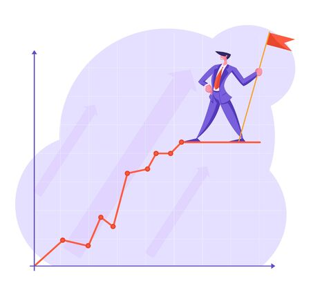 Businessman with Red Flag Stand on Top of Growing Business Chart Curve Line on Coordinate System. Growth Data Analysis Arrow Graph, Financial Profit Statistic Diagram. Cartoon Flat Vector Illustration
