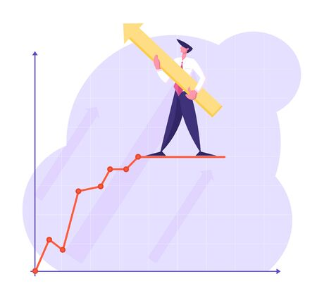 Businessman Character with Huge Arrow in Hands Stand on Top of Growing Business Chart Curve Line on Coordinate System, Leadership, Success, Goal Achievement Concept, Cartoon Flat Vector Illustration