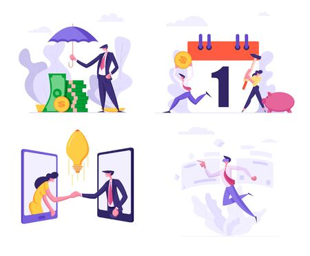 Set Business Man Cover Heap of Banknotes Money with Umbrella, People Break Piggy Bank for Tax Payment Schedule, Man and Woman Shaking Hands, Businessman in Vr Glasses, Cartoon Flat Vector Illustration