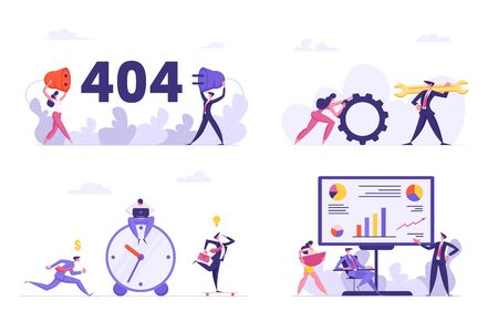 Set of Office Situations, 404 Error, Internet Connection Interruption, Technical Support Characters with Huge Wrench and Cogwheel, Deadline Concept, Business Meeting. Cartoon Flat Vector Illustration