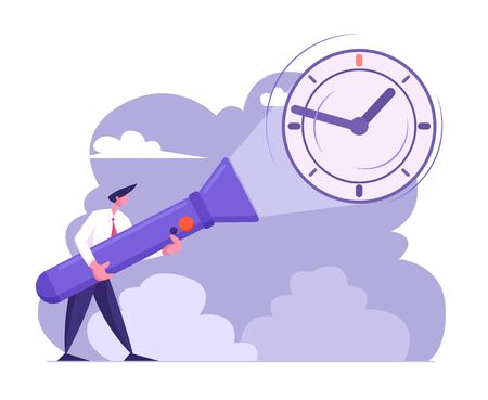 Young Business Man in Formal Suit Holding Huge Flashlight Lighting Up Watch on Wall, Uncovering Hidden Clock, Deadline, Time Concept, Searching Idea, Schedule Metaphor Cartoon Flat Vector Illustration