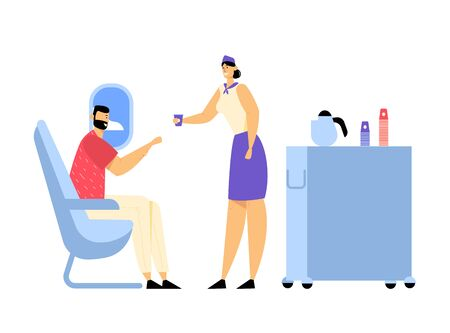 Cabin of Plane with Stewardess and Passenger, Mealtime in Economy Class. Woman Air Hostess with Food Cart in Aisle of Salon Giving Drink to Man, Journey, Jet Trip. Cartoon Flat Vector Illustration