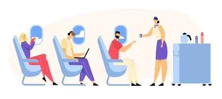 Airplane Crew and Passenger Characters in Plane. Stewardess Giving Drink to Happy People Sitting on Chairs in Economy Class of Aircraft. Airline Transportation Service Cartoon Flat Vector Illustration