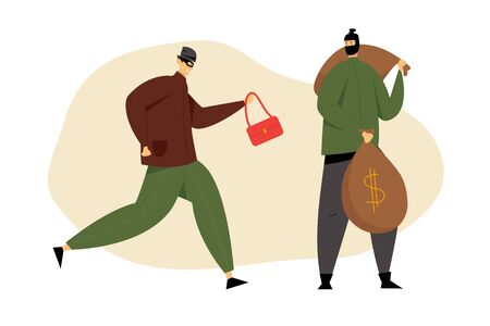 Couple of Masked Robbers with Stolen Woman Bag and Money Sacks, Bank Robbery by Criminals. Gangsters Violence Organized to Steal Money From Financial Institution. Cartoon Flat Vector Illustration