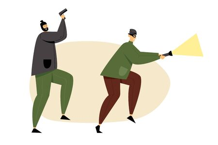 Masked Thieves, Burglars or Robbers Holding Gun and Glowing Flashlight Sneaking for Steal Money, Robbery or Theft. Organized Gangsters Band Armed Attack with Force. Cartoon Flat Vector Illustration