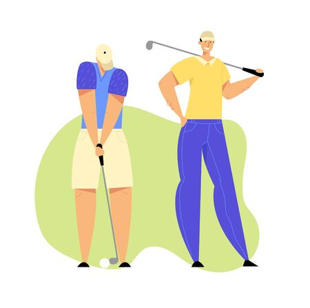 Golf Tournament, Young People Playing Sport Game on Course with Green Grass Using Professional Equipment, Man Hitting Ball to Hole, Summer Sparetime, Luxury Recreation Cartoon Flat Vector Illustration