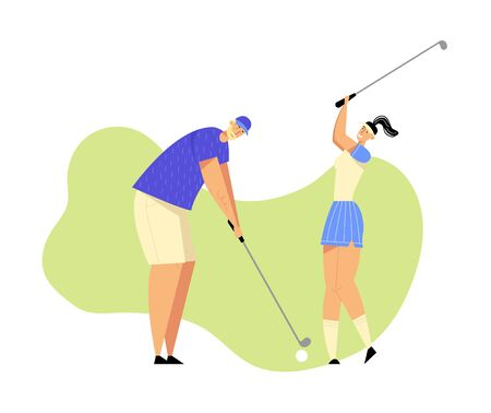 Senior Man and Young Woman in Uniform Playing Golf on Course with Green Grass, Hitting Ball to Hole, Sport Game, Tournament, Summer Spare Time, Luxury Recreation. Cartoon Flat Vector Illustration