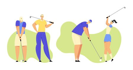 Group of People in Sports in Uniform Playing Golf on Green Field, Hitting Ball to Hole with Professional Equipment, Sport Game, Tournament, Summer Luxury Recreation. Cartoon Flat Vector Illustration