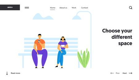 People Using Gadgets, Chatting in Social Media Networks. Man and Woman Communicating with Mobile Devices, Laptop, Smartphone, Website Landing Page, Web Page. Cartoon Flat Vector Illustration, Banner