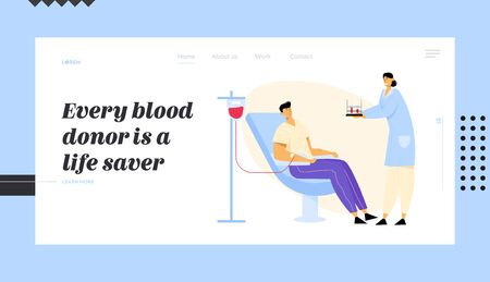 Man Donate Blood, Nurse Character Carrying Test Tubes with Lifeblood. Healthcare, Charity, Transfusion, Donation Laboratory Website Landing Page, Web Page. Cartoon Flat Vector Illustration, Banner
