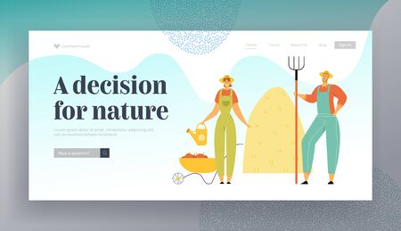 Farmers Man with Pitchfork, Woman with Water Can Stand near Wheelbarrow Full of Ripe Vegetables and Stack of Hay, Harvesting Website Landing Page, Web Page. Cartoon Flat Vector Illustration, Banner Stock Illustratie