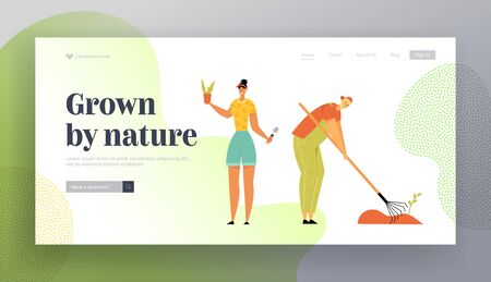 Man and Woman Gardeners Planting and Caring of Plants Weeding Garden Bed. Farmer Growing Vegetables on Farm. Farmer Production Website Landing Page, Web Page. Cartoon Flat Vector Illustration, Banner