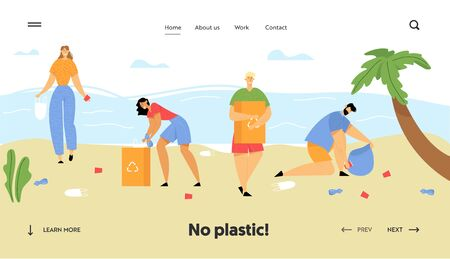 People Collecting Trash into Bags on Beach. Pollution of Seaside with Different Kinds of Garbage. Ecology Protection Concept Website Landing Page, Web Page. Cartoon Flat Vector Illustration, Banner Ilustrace