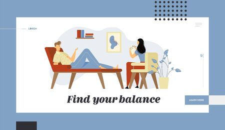 Unhappy Man Lying on Couch at Psychologist Appointment. Doctor, Specialist Talking with Patient about Mind Health Problem Website Landing Page, Web Page. Cartoon Flat Vector Illustration, Banner  イラスト・ベクター素材