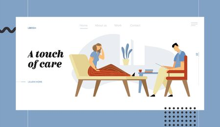 Woman Client in Clinic Lying on Couch at Psychologist Appointment for Professional Help. Doctor, Patient, Mind Health Problem Website Landing Page, Web Page. Cartoon Flat Vector Illustration, Banner