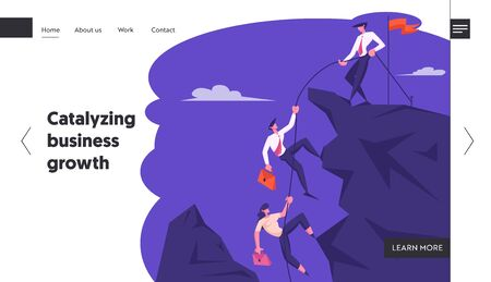 Business Leader Help Team Climb to Top of Rock with Hoisted Red Flag, Businessman with Rope Pull Teammates to Mountain Peak, Website Landing Page, Web Page. Cartoon Flat Vector Illustration, Banner
