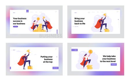 People and Money Website Landing Page Set, Male and Female Business Characters in Super Hero Cloaks Hold Golden Dollar and Cup Stand on Stack of Coins Web Page. Cartoon Flat Vector Illustration Banner