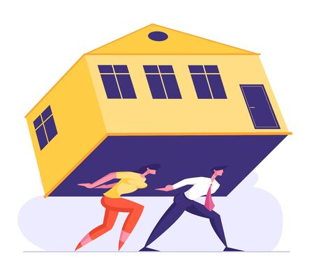Man and Woman Carry Heavy Huge House on Back. Family Couple Characters Struggling with Overwhelming Mortgage, Banking Credit for ReaL Estate Purchase, Expensive Rent. Cartoon Flat Vector Illustration