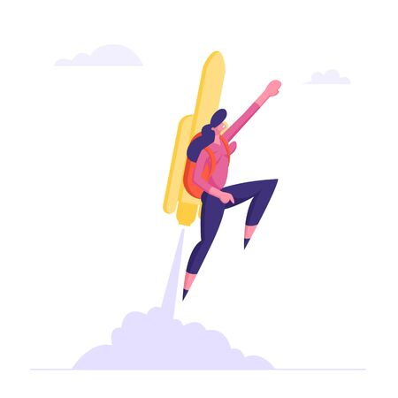 Happy Business Woman or Manager Fly on Jetpack to Goal Achievement. Girl with Rocket on Back Reach New Level of Development, Career Boost, Working Success, Investments Cartoon Flat Vector Illustration Illustration