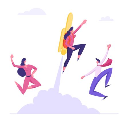 Happy Colleagues See Off Cool Businesswoman Flying Off with Jet Pack. Great Start, Career Boost or Fast Business Growth with Female Office Worker with Rocket on Back. Cartoon Flat Vector Illustration Illustration
