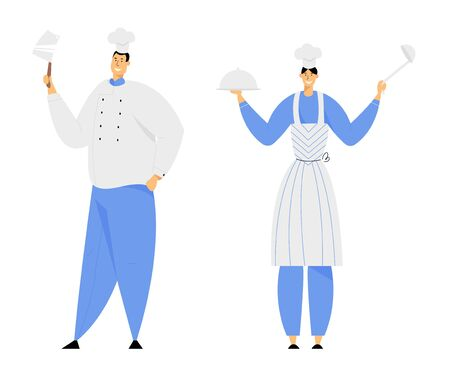 Hospitality, Restaurant Staff Characters in Uniform. Smiling Woman in Apron Holding Tray with Dish Under Silver Cloche Lid and Ladle, Man in Chef Toque with Beef Knife Cartoon Flat Vector Illustration