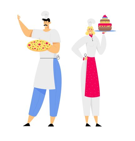 Young Man Chef in Toque and Apron Holding Pizza in Hands, Woman Sous Chef with Cake, Restaurant Staff Demonstrating Menu, Serve Guests in Cafe, Pizzeria, Bakery Shop. Cartoon Flat Vector Illustration Ilustrace