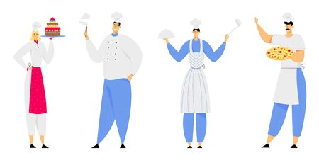 Restaurant Staff Characters in Uniform Demonstrating Menu, Cafe, Pizzeria, Bakery Shop, Hospitality, Young Man and Woman Chef in Toque and Apron Holding Pizza, Cake Cartoon Flat Vector Illustration Foto de archivo - 129762612