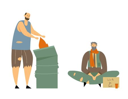 Homeless Adult People Begging Money and Need Help, Male Characters Living on Street, Man in Dirty and Ragged Clothes Lost Work, Bagger Warming at Fire in Metal Barrel, Cartoon Flat Vector Illustration Vettoriali