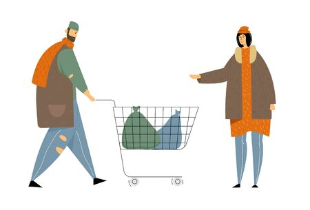 Male and Female Beggars Characters Wearing Ragged Clothing Pick Up Garbage on Street to Shopping Cart, Homeless Adult Poor People, Bums Begging Money and Need Help, Cartoon Flat Vector Illustration
