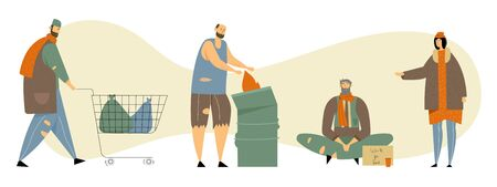 Set of Homeless Adult People Begging Money, Need Help and Work, Male and Female Beggars Characters Wearing Ragged Clothing Pick Up Garbage on Street, Bums Lifestyle Cartoon Flat Vector Illustration