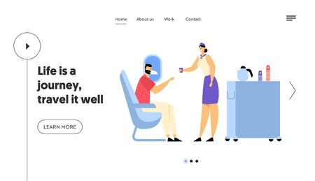 Airplane Journey, Jet Trip Website Landing Page, Cabin of Plane with Stewardess and Passenger, Mealtime in Economy Class. Air Hostess with Food Cart Web Page. Cartoon Flat Vector Illustration, Banner