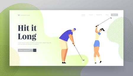 Summer Spare Time, Luxury Recreation, Golfing Website Landing Page, People Playing Golf on Course, Hitting Ball to Hole, Sport Game, Tournament, Web Page. Cartoon Flat Vector Illustration, Banner